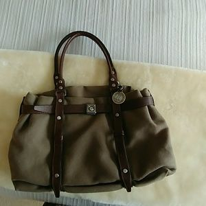 Lanvin handbag. Kentucky brown leather and fabric.